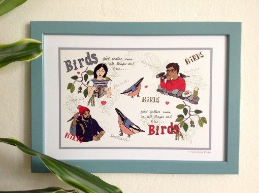Bird spotters come in all shapes and sizes A4 print