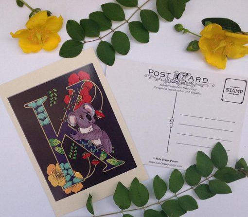 Animal alphabet postcard K is for Koala