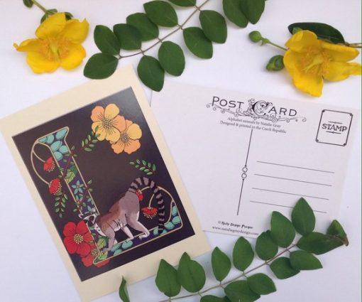 Alphabet animals postcard L is for Lemur