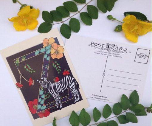 Alphabet animals postcard z is for zebra