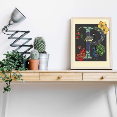 A4 Peafowl decorative letter print