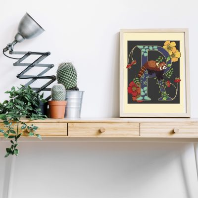 A4 Red panda decorative letter print