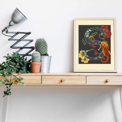 A4 Seahorse decorative letter print