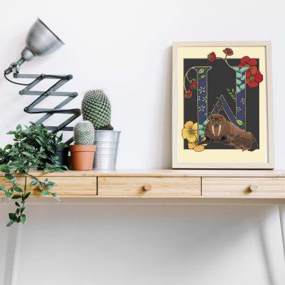 A4 Walrus decorative letter print