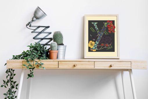 A4 Yak decorative letter print