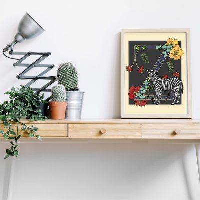 A4 Zebra decorative letter print